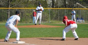 Madison College pitcher Casey Doucette pitches against the UW-Madison Club Team on April 17. The WolfPack posted a 7-1 victory.
