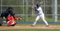 Luke Muldonado, shown batting is a recent game, has the highest batting average on the Madison College baseball team, hitting .400 on the season.