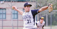 Madison College sophomore Jameson Sadowske (21) pitches during one of his team's games in Florida over spring break.