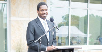 Student Senate President Colin Bowden speaks at a recent college event.