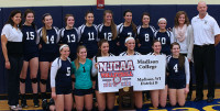 The WolfPack volleyball team celebrates winning the national title on Nov. 16 in Rochester, Minn.