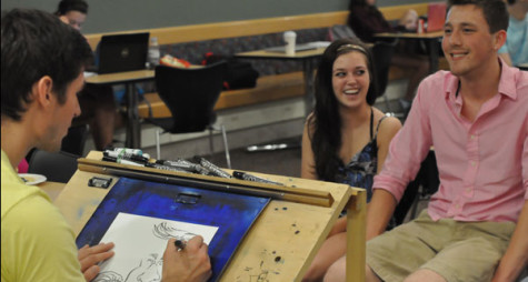 Illustrator Theo Howard is shown giving free 5-minute caricatures to students looking to get their goofy on.