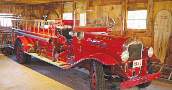 The 1902 fire engine is one of the many interesting pieces at Swiss Historical Village.