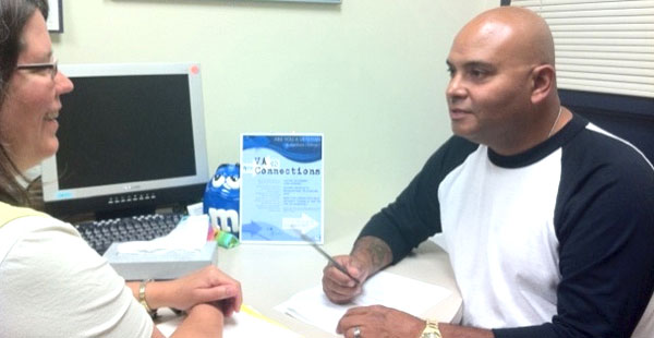 Veteran Jose Velazquez meets regularly with a counselor at the clinic for progress.