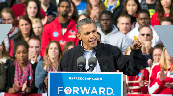 President Obama speaks to a crowd of over 30,000 on Bascom Hill at UW-Madison.