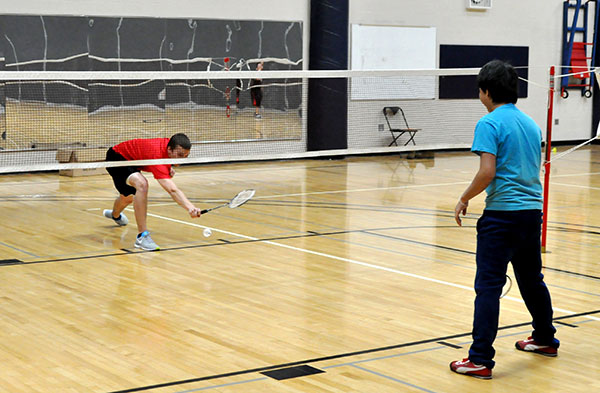 Students playing badminton