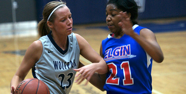 Madison College's Brittany Kaltenberg (23) drives past Elgin's Erica Haynes during a game at home on Dec. 3.