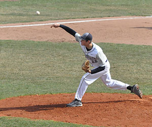 Madison College's Calen Rohrman pitches on April 16 in a victory over Highland Community College.
