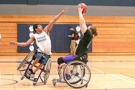 The UW-Whitewater wheelchair basketball teams put on a demonstration at Madison College on Oct. 22 in Redsten Gymnasium.