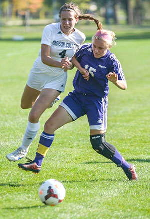 Madison College's Stina Seaberg fights for the ball during a recent match.