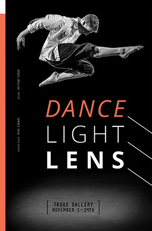 Dance Light Lens poster design by student Brittany Hoban, photo by student Mike Conway.
