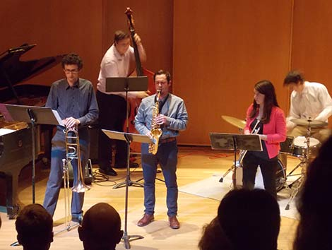 UW-Madison's Blue Note Ensemble, directed by Johannes Wallmann, performs at a concert held recently by UW Jazz.