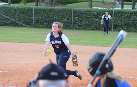 Madison College freshman Ashley Stormer pitches during one of the games the team played in Florida during spring break.