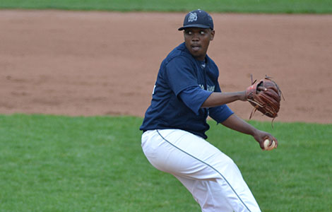 Marcellus Sneed pitches for the Madison College baseball team during a recent home game.