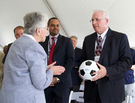 Dr. Carolyn Stoner, chairwoman for the Madison College district board, expresses her gratitude for a $6 million donation from the Goodman Foundation to construct a new softball and soccer facility at Madison College.