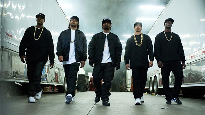 "Neil Brown Jr., Aldis Hodge, Corey Hawkins, Jason Mitchell and O'Shea Jackson Jr. in ""Straight Outta Compton."""