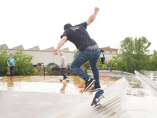Skateborder doing a trick at the new Goodman Skatepark