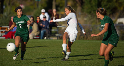 Madison College women's soccer player Arianna Viscarra, center, splits a pair of defenders during a recent home game against the College of DuPage. The WolfPack's season ended on Oct. 24 with a 3-0 loss to the DuPage in the NJCAA Region IV Tournament semifinals.