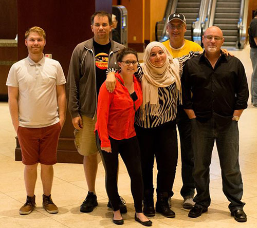 The Clarion staff who attended the Associated Collegiate Press Convention were, from left, Nicolas LaMorte, Josh Zytkiewicz, Rebecca Waraczynski, Mouna Algahaithi, advisor Doug Kirchberg and instructor Terry Bell.