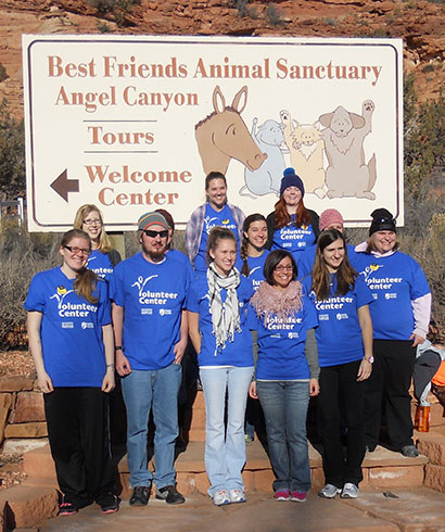Student volunteers helped at the Best Friends Animal Sanctuary last year.