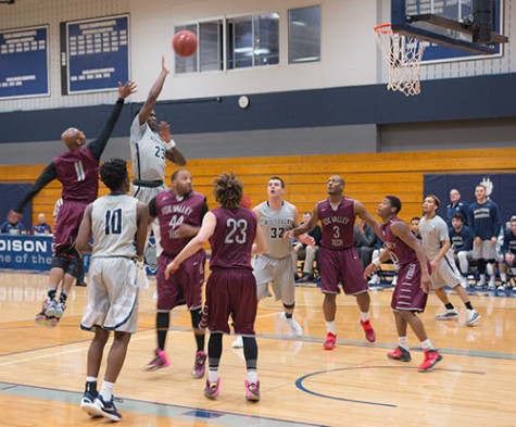 Malik Henderson (23) takes a shot during the Madison College men's basketball game against Fox Valley Tech on Jan. 4.