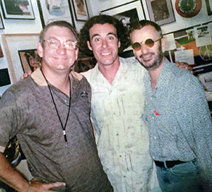Madison College instructor Todd Bowie is shown with Joe Walsh, left, and Ringo Starr, right.