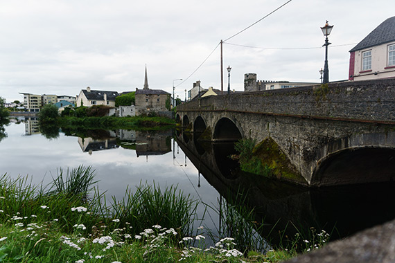 The Graiguecullen Bridge across the river Barrow in Carlow, Ireland. Portions of the bridge date back to 1569.