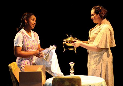 Brieann Robbins, left, and Antonia Villalon perform in a dress rehearsal of the Madison College Performing Arts production of
