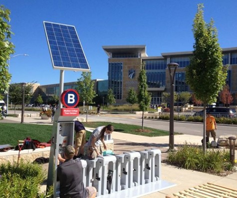 The BCycle station was installed in front of the Health Education building last fall.