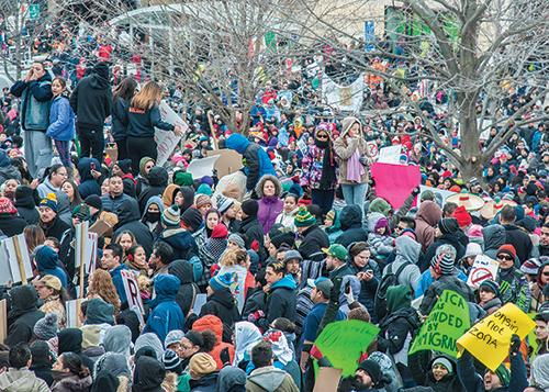 An estimated 20,000 people gathered outside the State Capitol in mid-February in protest of anti-imigration legislation.