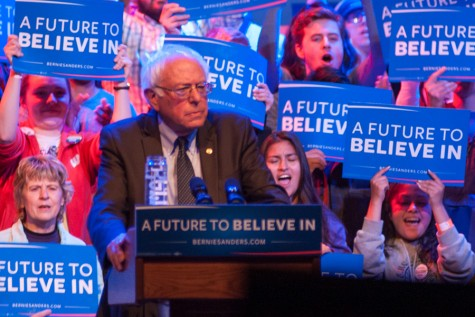 Democratic Presidential canidate Sen. Bernie Sanders spoke to a capacity crowd at the Orpheum in downtown Madison on March 30.