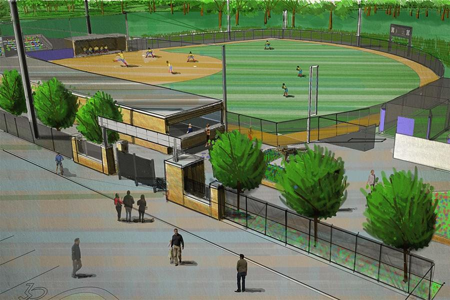 This is an artist's rendition of the new softball diamond in Goodman Sports Complex at Madison College.