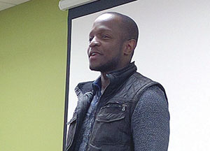 Writer/Director Qasim Basir spoke with students at Madison College after the screaning of his movie Mooz-Lum on March 22.