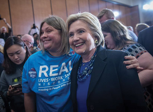 Nicki Vander Muelen with presidential candidate Hillary Clinton at a recent event.