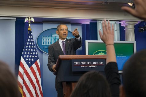 President Obama answers questions from student journalists in the White House press briefing room. The students, including Clarion Managing Editor Josh Zytkiewicz, were there as part of the first ever National College Reporter Day.