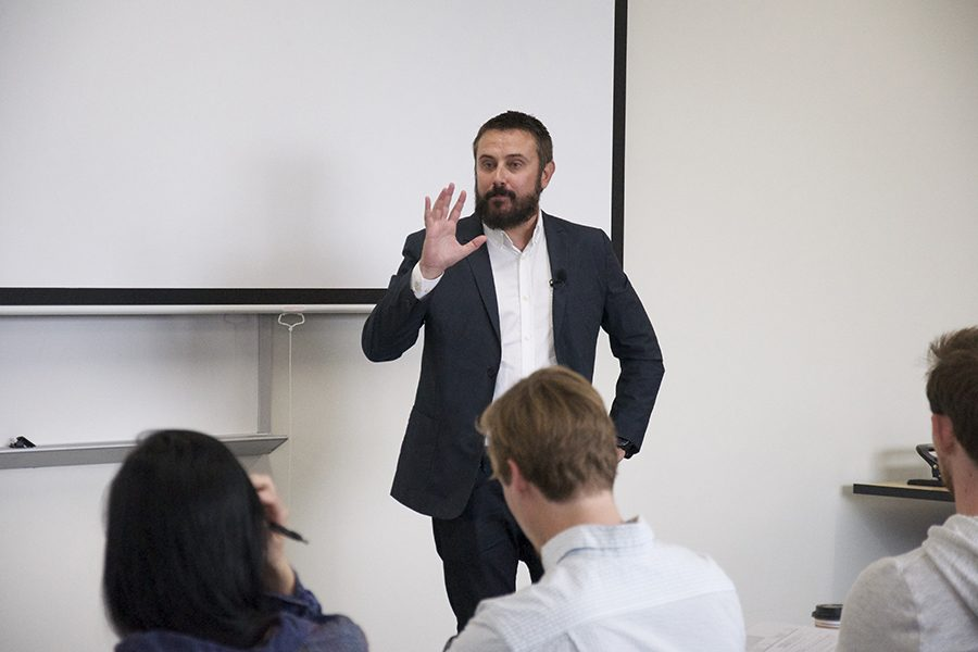 Author and investigative journalist Jeremy Scahill speaks at the Truax Campus on September 19