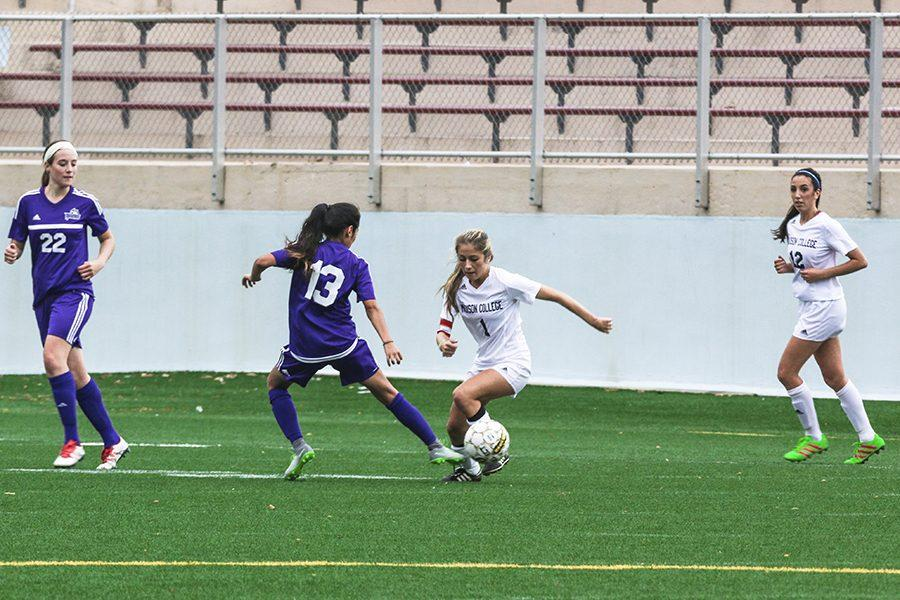 Madison College women's soccer player Arianna Viscarra, right, attempts to slip past a defender during a recent match. Viscarra was one of three all-region selections from this year's 9-8 women's soccer team.