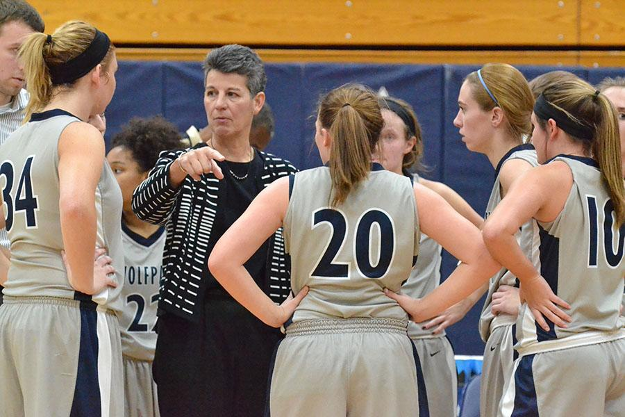 Madison College women's basketball coach Lois Heeren directs her team during a time out against Fox Valley on Nov. 9.