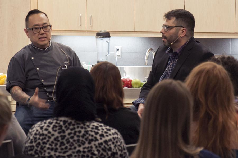 """Local chef and restaurant owner Tory Miller is interviewed during the Madison College Center for Entrepreneurship's """"Chef Series"""" on Feb. 22."""