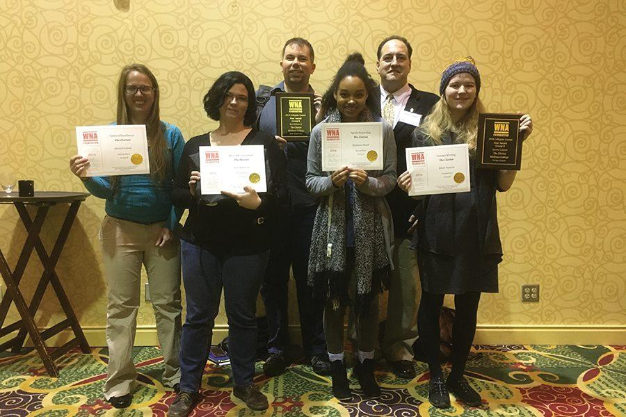 The Clarion received 11 awards at the WNA convention. Pictured are Bailey Ayres, Kim Michal, Josh Zytkiewicz, Lucy Smith, Vernon Ziegler and Elliott Puckette