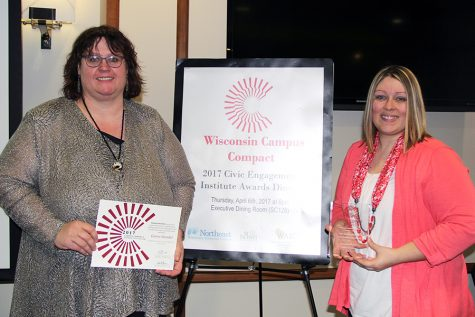 Samantha Hunter and Gloria Stendel recognized at Campus Compact Awards event