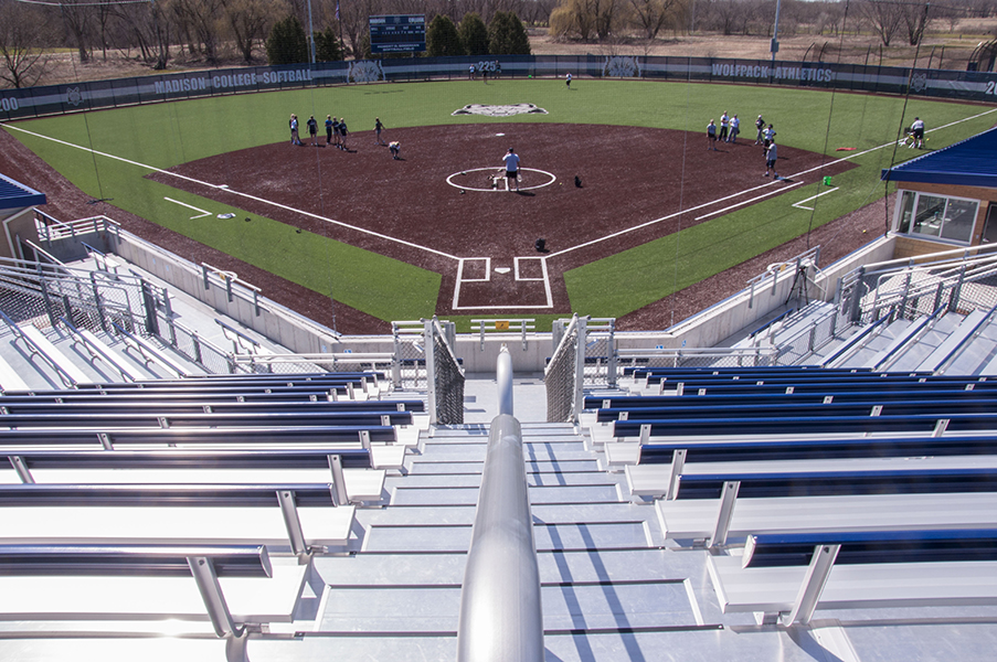 The view from the top of the Goodman Sports Complex softball diamond bleachers offers a great perspective.
