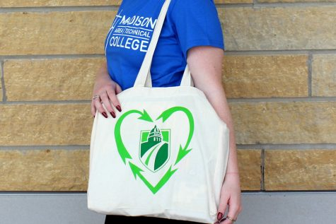 Think green with reusable bag at college bookstore