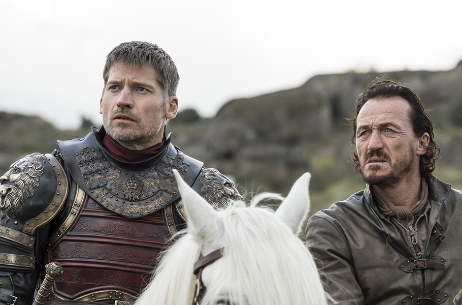 Jamie Lannister is played by Nikolaj Coster-Waldau and Bronn is played by Jerome Flynn.