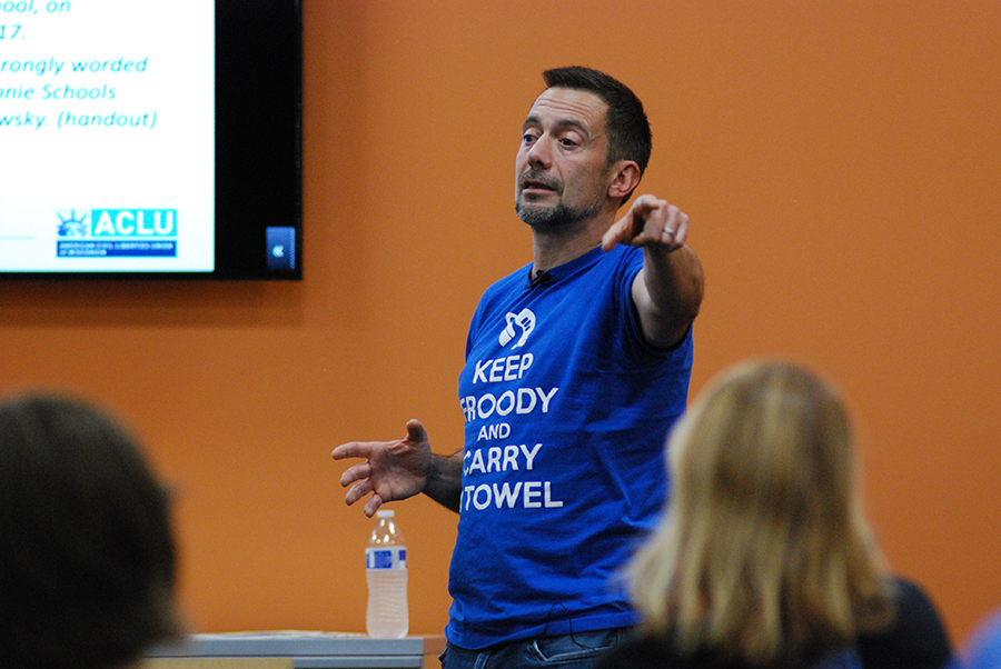 Emilo DeTorre, director of community engagement for the American Civil Liberties Union of WIsconsin, speaks about banned books and censorship during a presentation at Madison College on Sept. 26.