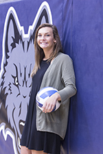Former player Andrea Bauer is one of the volleyball assistants.