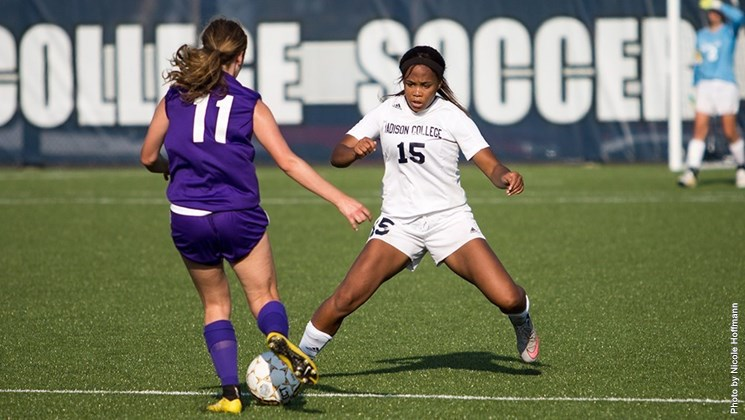 Madison College women's soccer player Tianna Sackett tries to steal the ball from an opponent during a recent match.