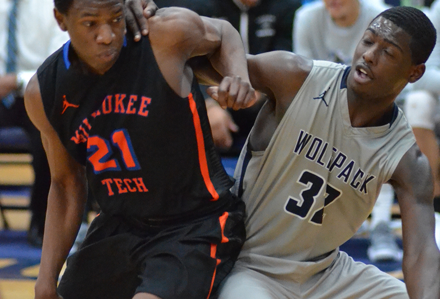 Madison College's Deshawn Black, right, battles for position with an opponent.