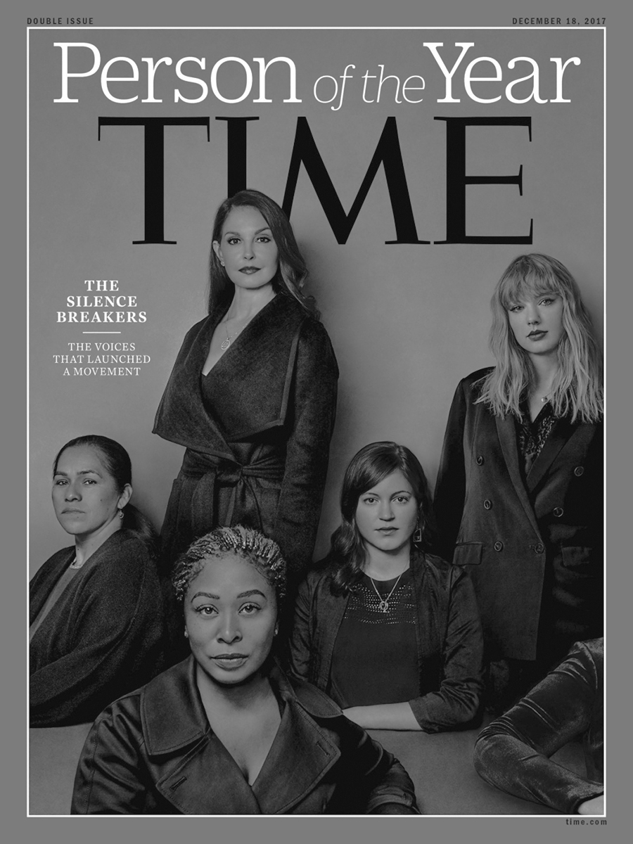 """Time Magazine highlighted """"The Silence Breakers"""" as the 'Person of the Year' in 2017, highlighting the impact of the Harvey Weinstein allegations and the #metoo movement."""