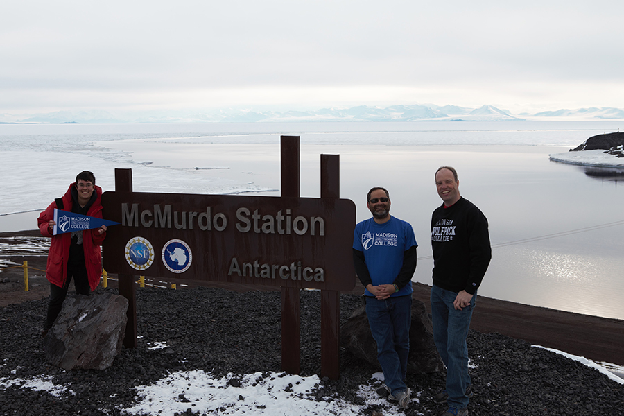 Madison College instructors Matthew Lazzara, center, and Andy Kurth, right, visited the icy shelves of Antarctica.
